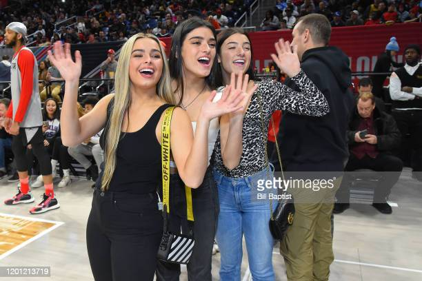 Tik Tok Stars Charli D'Amelio Addison Rae Easterling and Dixie DAmelio pose for a photo during Practice and Media Availability presented by ATT as...