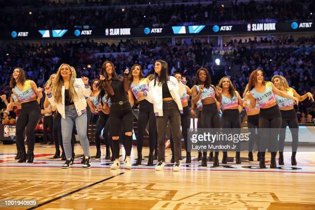 Tik Tok Stars Charli D'Amelio Addison Rae Easterling and Dixie D'Amelio dance during NBA AllStar Saturday Night Presented by State Farm as part of...
