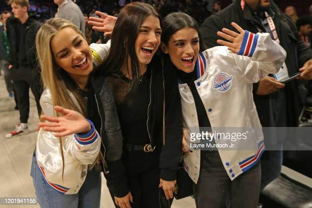 Tik Tok Stars Charli D'Amelio Addison Rae Easterling Dixie D'Amelio pose for a photo during NBA AllStar Saturday Night Presented by State Farm as...