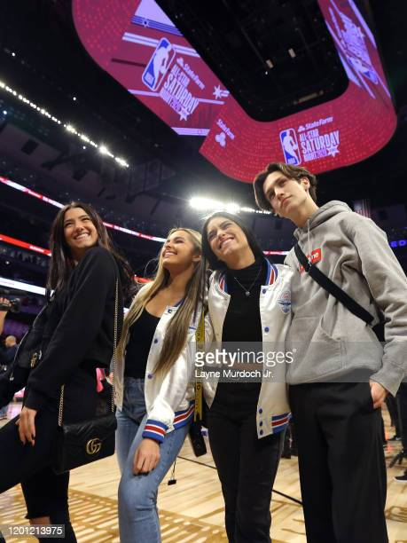 Tik Tok Stars Charli D'Amelio Addison Rae Easterling Dixie D'Amelio and Chase Hudson dance during a timeout during NBA AllStar Saturday Night...