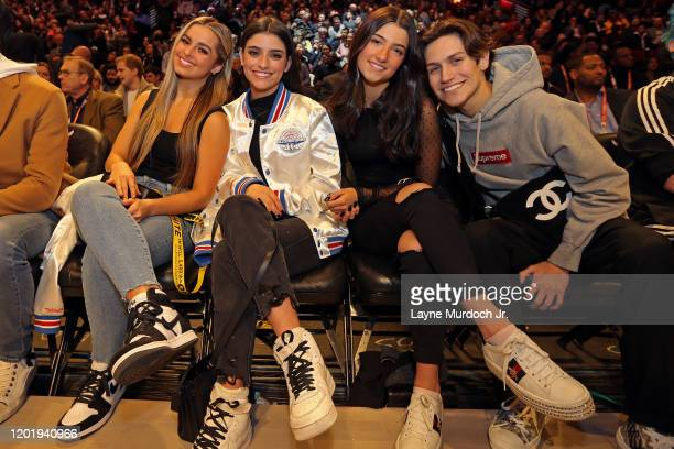 Tik Tok Stars Charli D'Amelio Addison Rae Easterling Dixie D'Amelio and Chase Hudson pose for a photo during NBA AllStar Saturday Night Presented by...