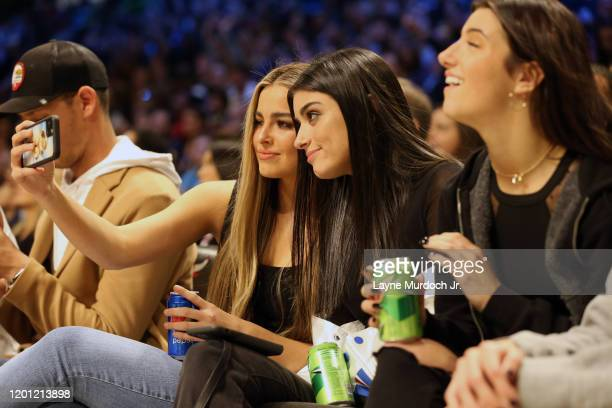 Tik Tok Stars Charli D'Amelio and Addison Rae Easterling pose for a selfie during NBA AllStar Saturday Night Presented by State Farm as part of 2020...