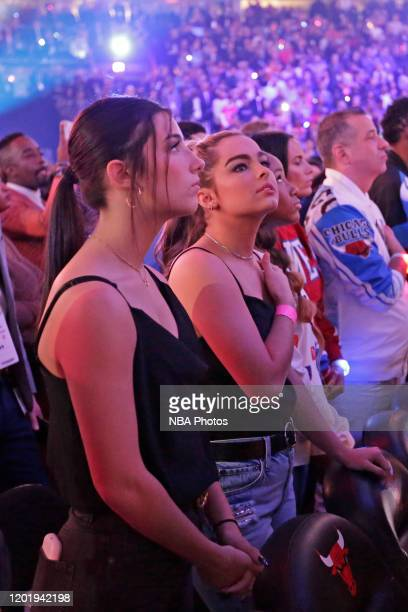 Tik Tok Stars Charlie D'Amelio and Addison Rae Easterling stand for the national anthem during the 69th NBA AllStar Game as part of 2020 NBA AllStar...