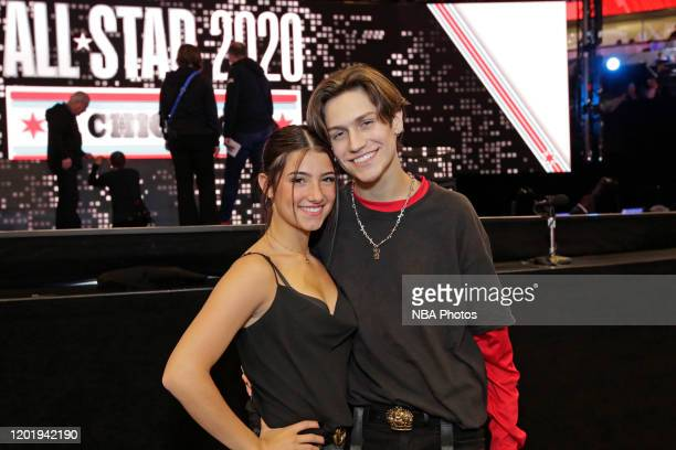 Tik Tok Stars Charlie D'Amelio and Chase Hudson pose for a photo during the 69th NBA AllStar Game as part of 2020 NBA AllStar Weekend on February 16...