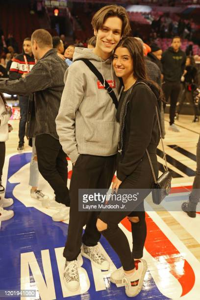 Tik Tok Stars CharliD'Amelio and Chase Hudson pose for a photo during NBA AllStar Saturday Night Presented by State Farm as part of 2020 NBA AllStar...