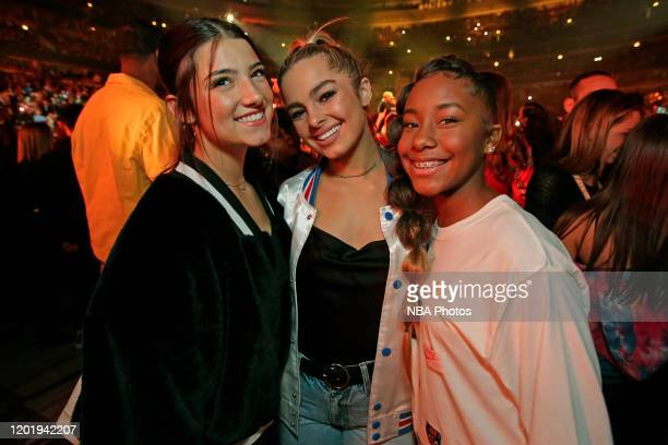 Tik Tok Stars Jalaiah Harmon Addison Rae Easterling and Charlie D'Amelio during the 69th NBA AllStar Game as part of 2020 NBA AllStar Weekend on...