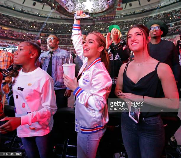 Tik Tok Stars Jalaiah Harmon Addison Rae Easterling and Dixie D'Amelio attend the 69th NBA AllStar Game as part of 2020 NBA AllStar Weekend on...