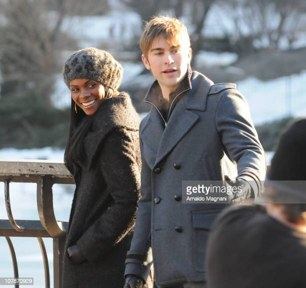 Tika Sumpter and Chace Crawford on the set of 'Gossip Girl' on January 4 2011 in New York City