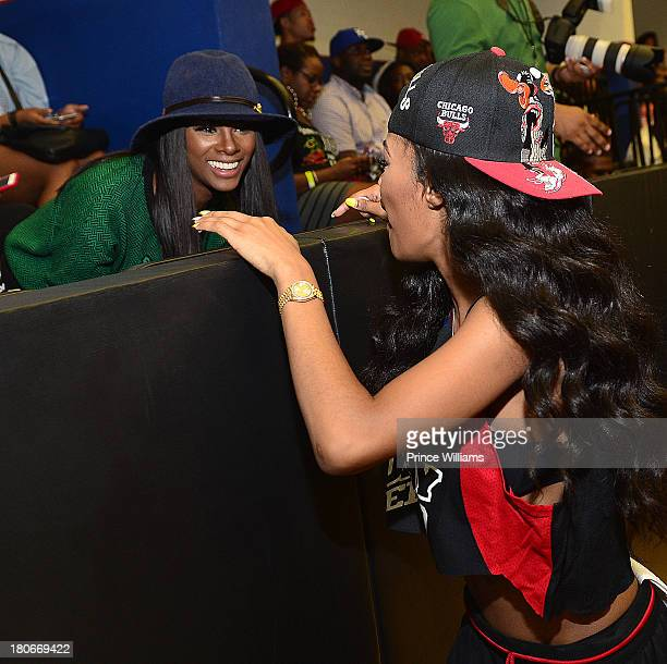 Tika Sumpter and Teyana Taylor attend LudaDay Weekend Celebrity Basketball Game at Georgia State University on September 1 2013 in Atlanta Georgia