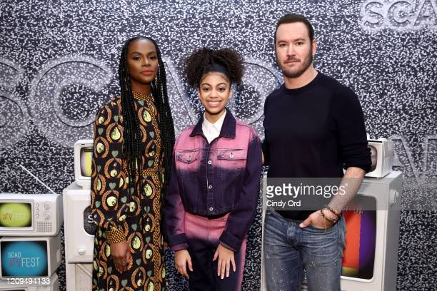 Tika Sumpter Arica Himmel and MarkPaul Gosselaar attend the SCAD aTVfest 2020 Mixedish Panel on February 29 2020 in Atlanta Georgia