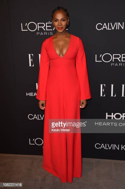Tika Sumpter attends the 25th Annual ELLE Women in Hollywood Celebration at Four Seasons Hotel Los Angeles at Beverly Hills on October 15 2018 in Los...