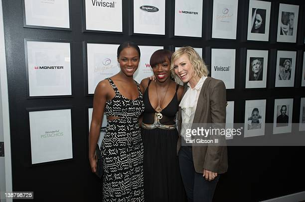Tika Sumpter Estelle and Natasha Bedingfield attend Estelle's PreGrammy Lounge at W Hollywood on February 11 2012 in Hollywood California