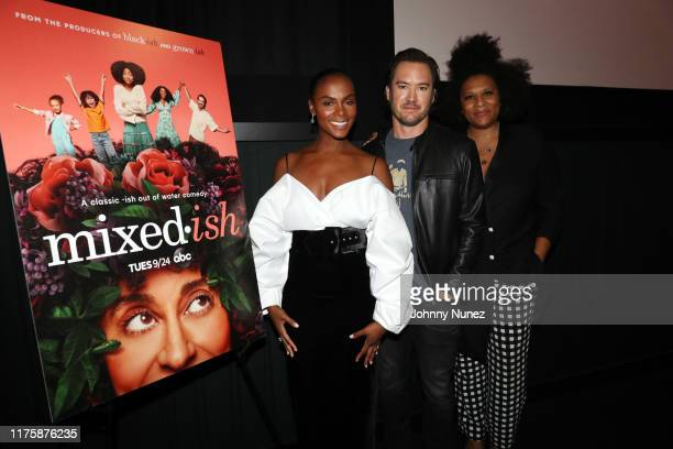 "Tika Sumpter, Mark-Paul Gosselaar, and Julee Wilson attend the ""Mixed-ish"" New York Screening at Regal Battery Park Cinemas on September 19, 2019 in..."