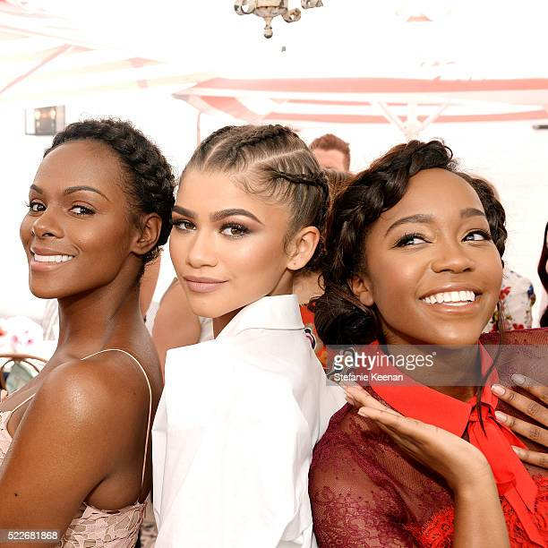 Tika Sumpter Zendaya and Aja Naomi King attend Glamour's Game Changers Lunch hosted by EditorinChief Cindi Leive Zendaya at AU FUDGE on April 20 2016...