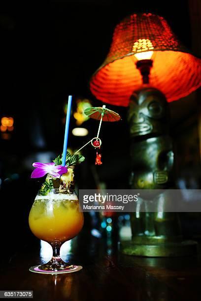 A Tiki Bar Fruit Cocktail