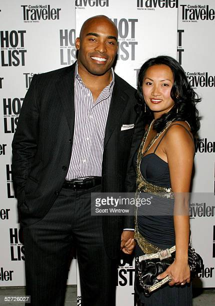Tiki Barber and his wife arrive for the Conde Nast Traveler Hot List Party on April 27 2005 in New York City