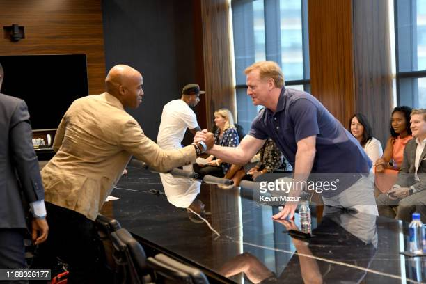 Tiki Barber and NFL Commissioner Roger Goodell at the Roc Nation and NFL Partnership Announcement at Roc Nation on August 14 2019 in New York City