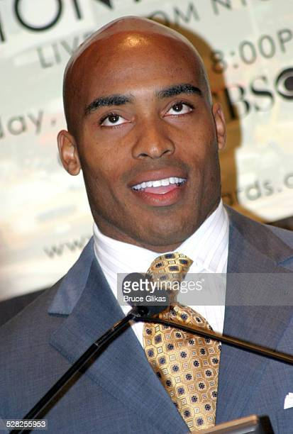 Tiki Barber during 58th Annual Tony Awards Nominee Announcements at The Hudson Theater in New York City New York United States