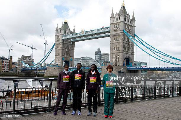 Tiki Gelana, Edna Kiplagat, Priscah Jeptoo, Renee Baillie and Yoko Shibui attends the photocall for International Women photocall ahead of The the...
