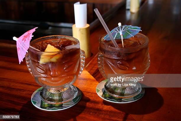 Tiki Mai Tai Cocktails with Drink Umbrellas