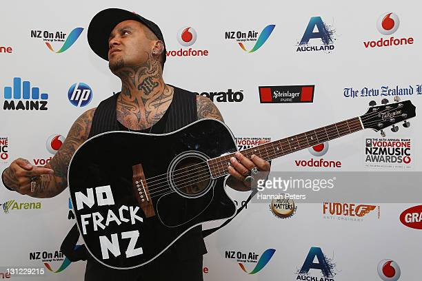 Tiki Taane poses following the 2011 Vodafone Music Awards at Vector Arena on November 3 2011 in Auckland New Zealand