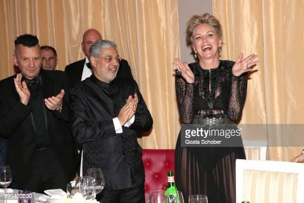 Tikka Shatrujit Singh Kapurthala and Sharon Stone during the charity gala benefiting 'Planet Hope' foundation at Kempinski Grand Hotel des Bains on...