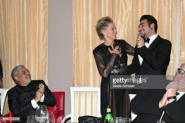 Tikka Shatrujit Singh Kapurthala Sharon Stone and singer of Il Volo Ignazio Boschetto during the charity gala benefiting 'Planet Hope' foundation at...