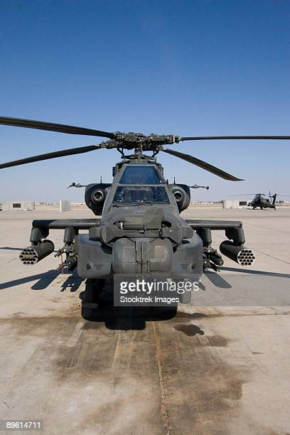 Tikrit, Iraq - An AH-64 Apache sits on the flight line on Camp Speicher.