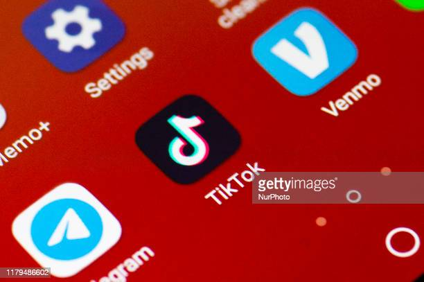 A TikTok logo is seen on a mobile device in Mountain View California on November 2 2019 as a photo illustration The US government organization the...