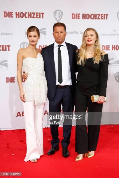 Til Schweiger and his daughter Lilli Schweiger and Luna Schweiger attend the premiere of Die Hochzeit at Zoo Palast on January 21 2020 in Berlin...