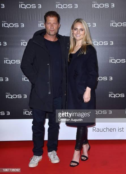 Til Schweiger and his girlfriend Francesca Dutton attend the German premiere of IQOS 3 at Museum fuer Hamburgische Geschichte on November 14 2018 in...