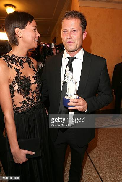 Til Schweiger and his girlfriend Marlene Shirley with award during the Bavarian Film Award 2016 at Prinzregententheater on January 15 2016 in Munich...