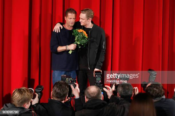 Til Schweiger and Matthias Schweighoefer during the 'Hot Dog' Premiere at CineStar on January 9 2018 in Berlin Germany