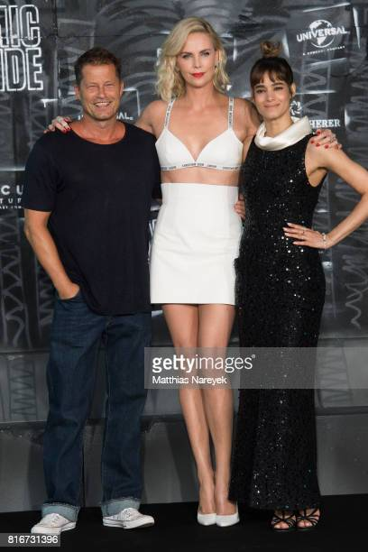 Til Schweiger Charlize Theron and Sofia Boutella attend the 'Atomic Blonde' World Premiere In Berlin at Stage Theater on July 17 2017 in Berlin...