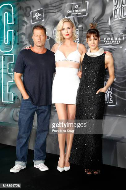 Til Schweiger Charlize Theron and Sofia Boutella attend the 'Atomic Blonde' world premiere at Stage Theater on July 17 2017 in Berlin Germany