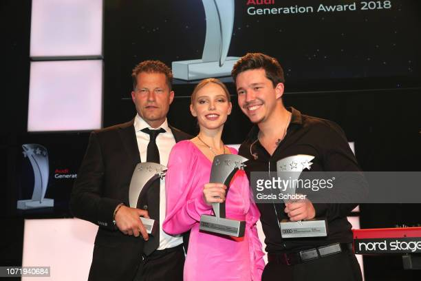 Til Schweiger Lina Larissa Strahl Nico Santos with awards during the Audi Generation Award 2018 at Hotel Bayerischer Hof on December 11 2018 in...