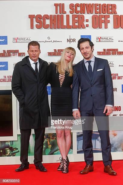 Til Schweiger Luna Schweiger and Fahri Yardim attend the 'Tschiller Off Duty' German Premiere on February 3 in Berlin Germany