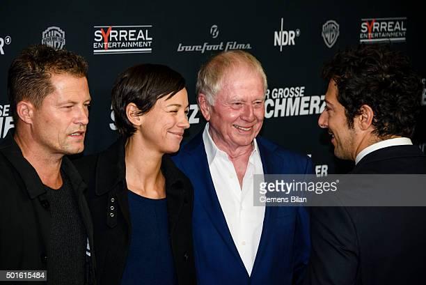 Til Schweiger Marlene Shirley Wolfgang Petersen and Fahri Yardim attend the 'Tatort Der Grosse Schmerz' premiere in Berlin at Kino Babylon on...