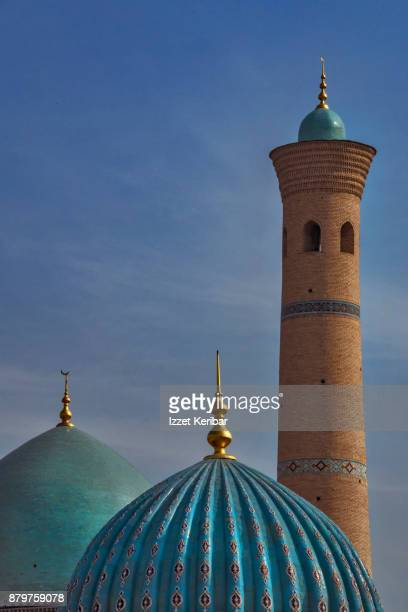 Tila Sheikh Mosque at Tashkent, two green domes and a minaret, Uzbekistan