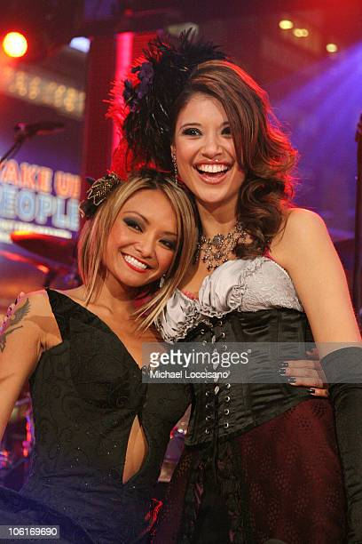 Tila Tequila and MTV VJ Lyndsey Rodrigues on stage during Tila Tequila's MTV New Year's Eve Masquerade party at MTV Times Squre studios on December...
