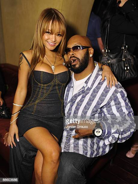 Tila Tequila and Suge Knight attend the Official OnlineBootyCall Million Dollar Sweepstakes Party at Opera Crimson on June 20 2009 in Los Angeles...