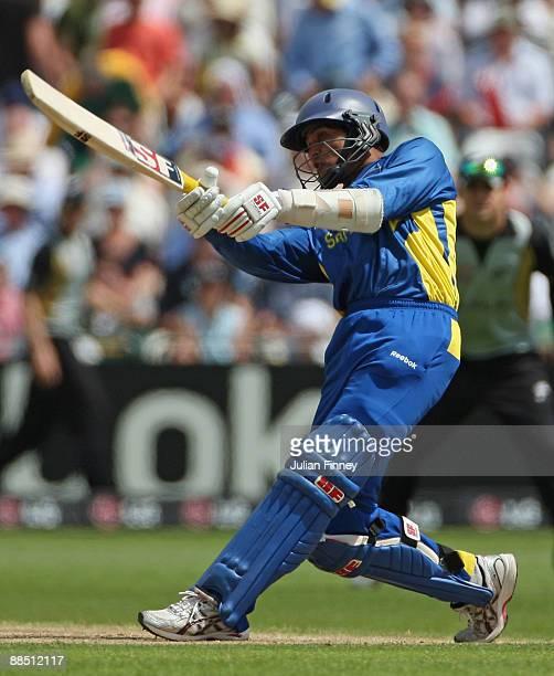 Tilakaratne Dilshan of Sri Lanka hits out during the ICC World Twenty20 Super Eights match between New Zealand and Sri Lanka at Trent Bridge on June...
