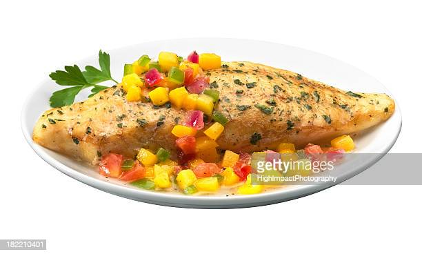 tilapia with mango salsa - fillet stock pictures, royalty-free photos & images