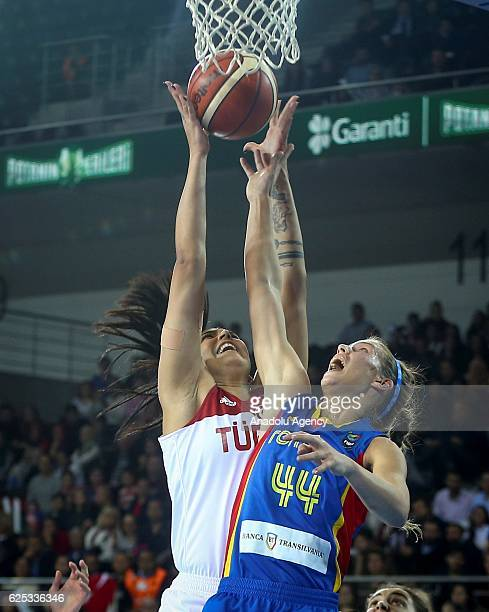 Tilbe Senyurek of Turkey in action against Gabriela Marginean during the FIBA EuroBasket Women 2017 Qualifiers match between Turkey and Romania at...