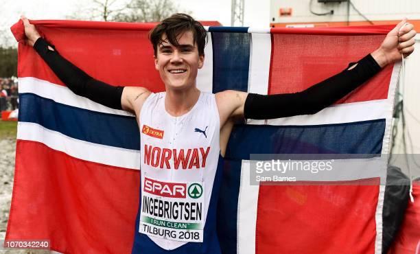 Tilburg Netherlands 9 December 2018 Jakob Ingebrigtsen of Norway celebrates winning the U20 Men's event during the European Cross Country...