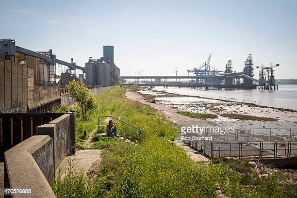 Tilbury docks are seen from the beachfront in April 21, 2015 in Grays, England. The south Essex constituency of Thurrock is a three-way battle with...