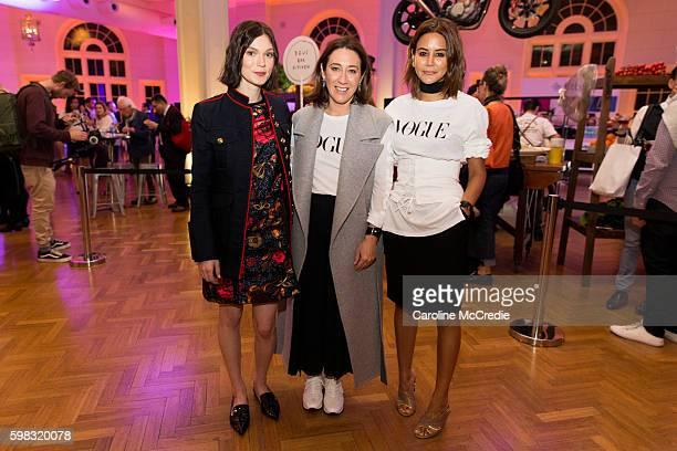 Tilda CobhamHervey Edwina McCann and Christine Centenera at the David Jones Vogue Bar powered by Fitbit during Vogue American Express Fashion's Night...