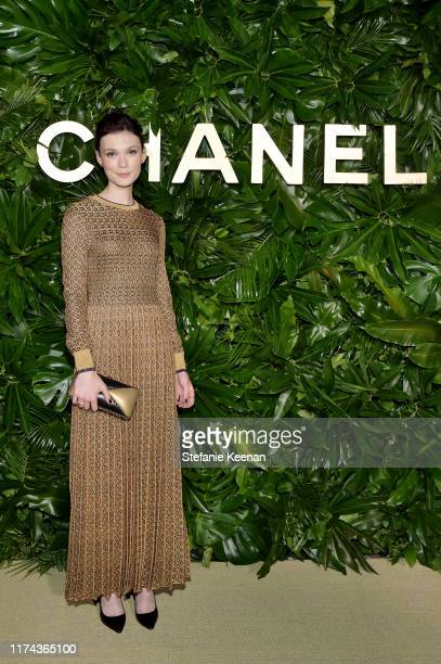 Tilda CobhamHerveywearing CHANEL attends Chanel Dinner Celebrating Gabrielle Chanel Essence With Margot Robbie on September 12 2019 in Los Angeles...