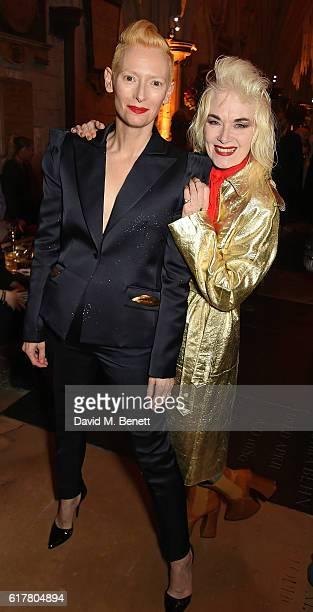 Tilda Swindon and Pam Hogg attend Marvel Studios and British GQ hosted reception in The Cloisters at Westminster Abbey, to celebrate the release of...
