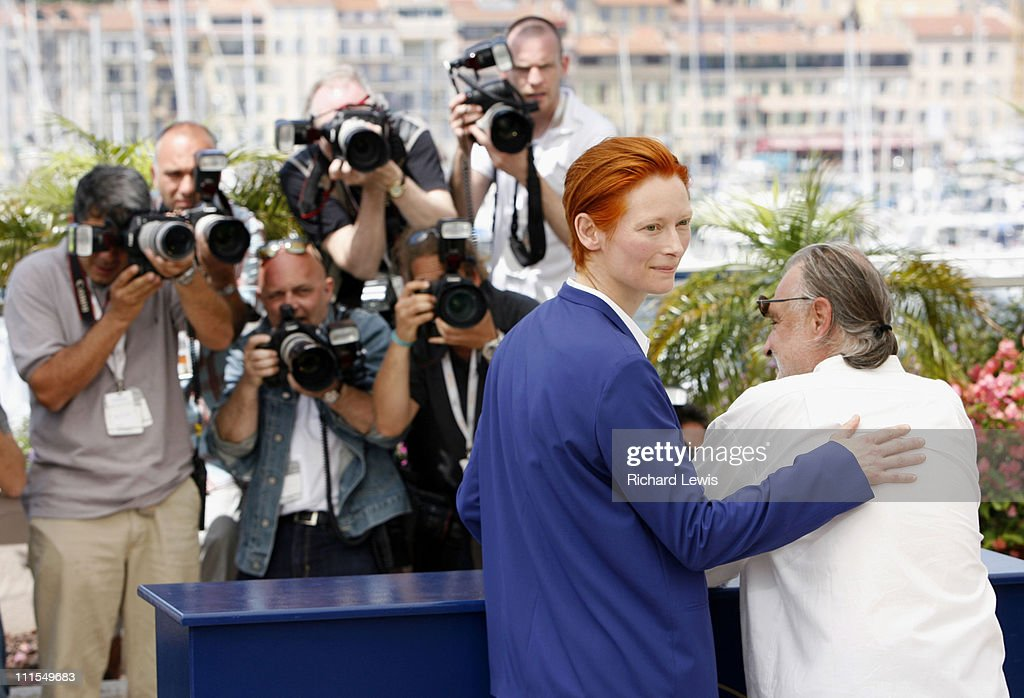 Tilda Swinton and Bela Tarr during 2007 Cannes Film Festival - 'The Man From London' Photocall at Palais des Festival in Cannes, France.